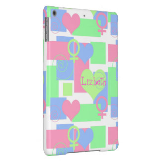 Swirls, Squares and Hearts2+Name/Female Sign iPad Air Cover
