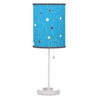 Swirls stars blue table lamps