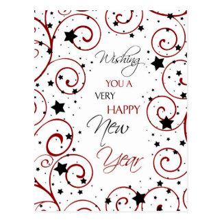 Swirls & Stars Happy New Year Postcards
