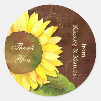 Swirls & Sunflower Wedding Thank You Favor Sticker
