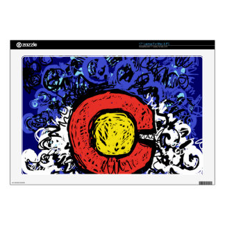 "Swirly Abstract Colorado Flag Decals For 17"" Laptops"