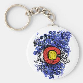 Swirly Abstract Colorado Flag Keychain