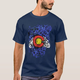 Swirly Abstract Colorado Flag T-Shirt