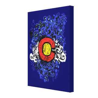 Swirly Abstract Colorado Flag Wall Canvas Stretched Canvas Prints