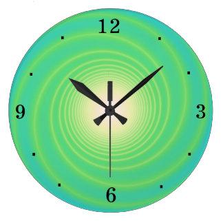 Swirly Aqua/ Lime Green> Wall Clock