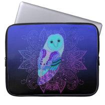Swirly Barn Owl Computer Sleeve