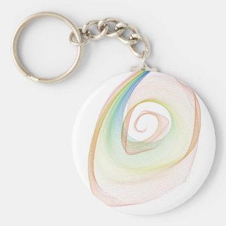 Swirly Basic Round Button Keychain