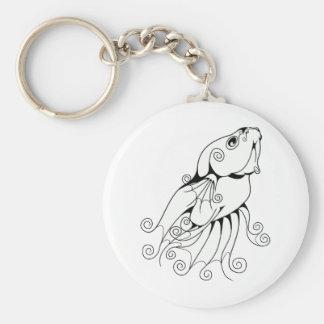 Swirly Betta 1 Basic Round Button Keychain