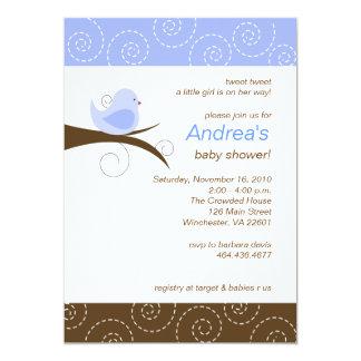 Swirly bird Blue Boy Baby Shower Invitation