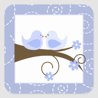 Swirly Bird (Blue) Love Birds Wedding (20) Sticker