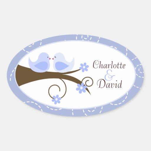 Swirly Bird Blue Wedding Oval Favor Sticker