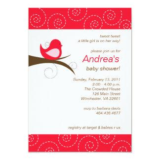 "Swirly bird Bright Red Girl Baby Shower Invitation 5"" X 7"" Invitation Card"