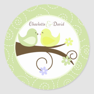 Swirly Bird (Green) Wedding Circle Favor Sticker