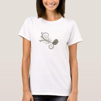 Swirly Bird on Yellow Damasks Grunge Pattern T-Shirt
