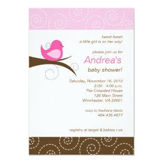 Swirly bird Pink Girl Baby Shower Invitation