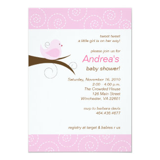 "Swirly bird Pink Girl Baby Shower Invitation 5"" X 7"" Invitation Card"