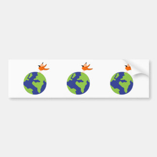 Swirly Bird Saves the World for Sustainable Earth Car Bumper Sticker