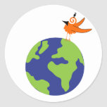 Swirly Bird Saves the World for Sustainable Earth Classic Round Sticker