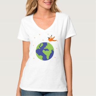 Swirly Bird Saves the World Sustainable Earth T-Shirt