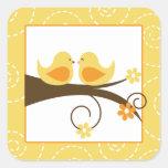 Swirly Bird Yellow Love Birds Wedding (20) Sticker