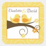 Swirly Bird Yellow Wedding Favor Sticker (6)
