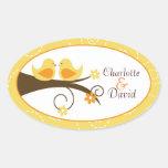 Swirly Bird (Yellow) Wedding Oval Favor Sticker