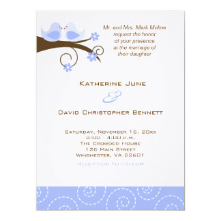 "Swirly Birds Trendy Wedding Invitation 6.5"" x 8.75"