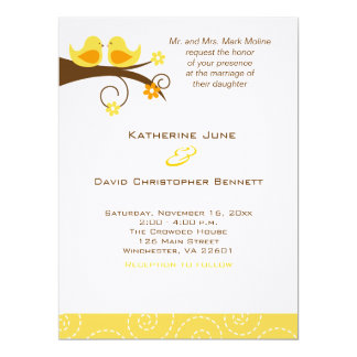 Swirly Birds Trendy Wedding Invitation Linen Paper