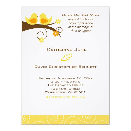 Swirly Birds Trendy Wedding Invitation Linen Paper