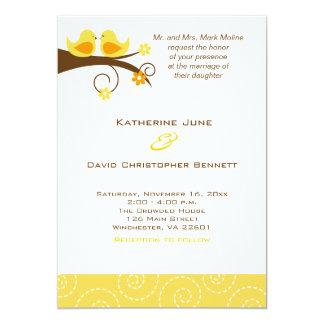 Swirly Birds Trendy Wedding Invitation  - Yellow