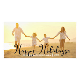 Swirly Black Happy Holidays - Photo Card