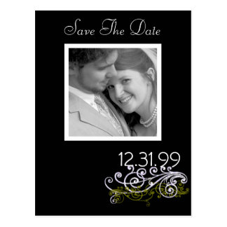 Swirly Black & White Save The Date Postcard