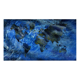 Swirly Blue Acrylic World Map Business Card Templates
