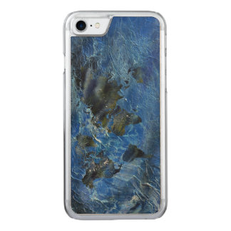 Swirly Blue Acrylic World Map Carved iPhone 7 Case