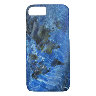 Swirly Blue Acrylic World Map iPhone 7 Case