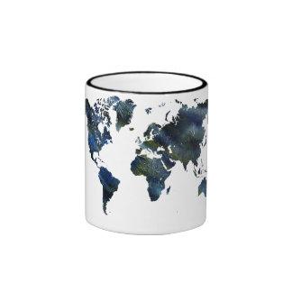 Swirly Blue Acrylic World Map Ringer Coffee Mug