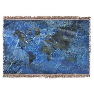 Swirly Blue Acrylic World Map Throw