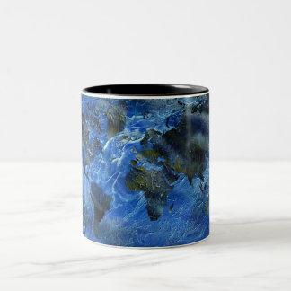Swirly Blue Acrylic World Map Two-Tone Coffee Mug
