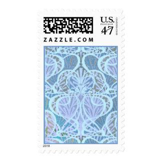 Swirly Blue Art Nouveau Pattern Postage