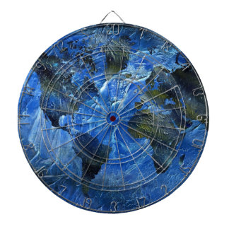 Swirly Blue Arylic World Map Dart Board