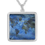Swirly Blue Arylic World Map Square Pendant Necklace