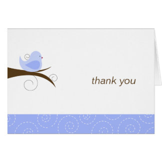 Swirly Blue Bird Note Card Thank You Note Folded