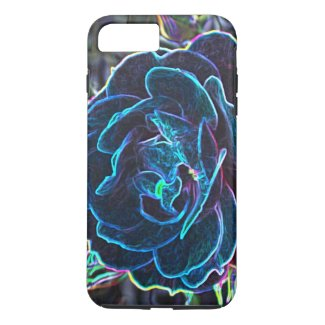 Swirly Blue Neon Rose Case-Mate iPhone Case