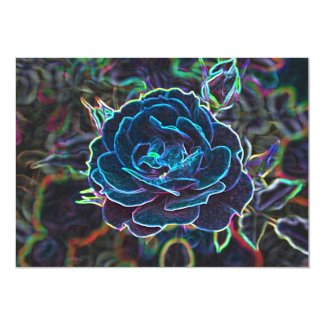 Swirly Blue Neon Rose Invitation