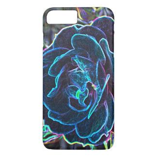 Swirly Blue Neon Rose iPhone 7 Plus Case