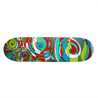 Swirly Bubbles  Blue Abstract Skateboard Deck