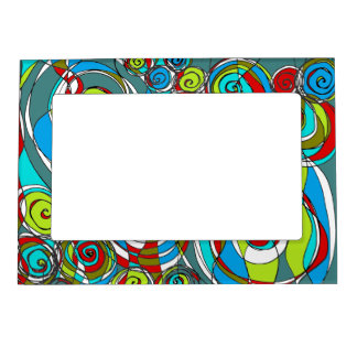 Swirly Bubbles Blue Magnetic Picture Frame
