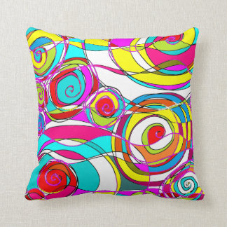 Swirly bubbles Light Multicolored Abstract Throw Pillow