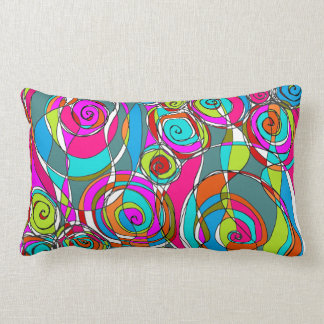 Swirly Bubbles  Pink Blue Green Abstract Lumbar Pillow