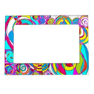 Swirly burbujea el extracto azul blanco marcos magneticos de fotos